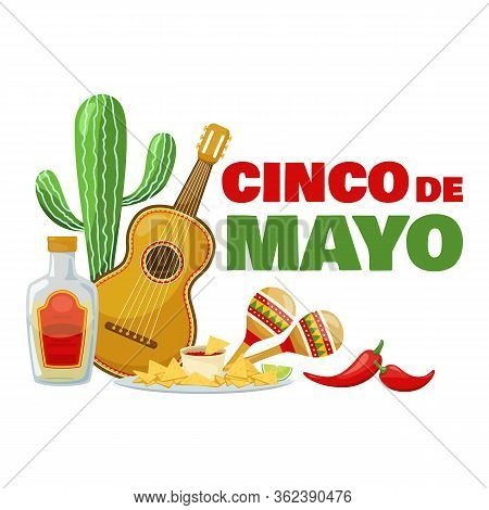 Cinco De Mayo Badge, Mexican Traditional Fiesta. Food For A Party And Mexican Musical Instrument. Ve