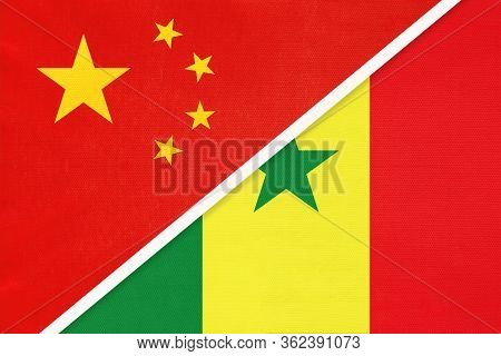 China Or Prc Vs Senegal National Flag From Textile. Relationship Between Asian And African Countries