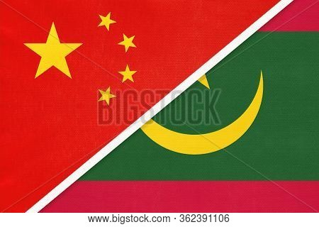 China Or Prc Vs Mauritania National Flag From Textile. Relationship Between Asian And African Countr