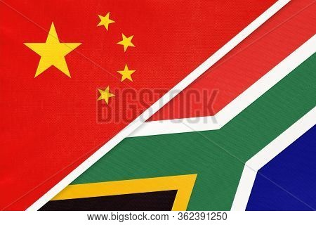 China Or Prc Vs South Africa National Flag From Textile. Relationship Between Asian And African Coun