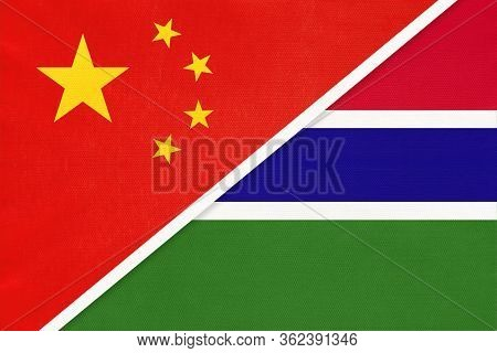 China Or Prc Vs The Gambia National Flag From Textile. Relationship Between Asian And African Countr