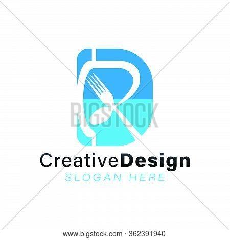 Initial Letter D R. Crossed Spoon And Fork Restaurant Modern Logo Ideas. Inspiration Logo Design. Te