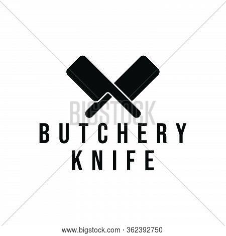 Vintage Retro Butcher Shop Label Logo Ideas. With Crossed Cleaver, Cross Knife Inspiration Logo Desi