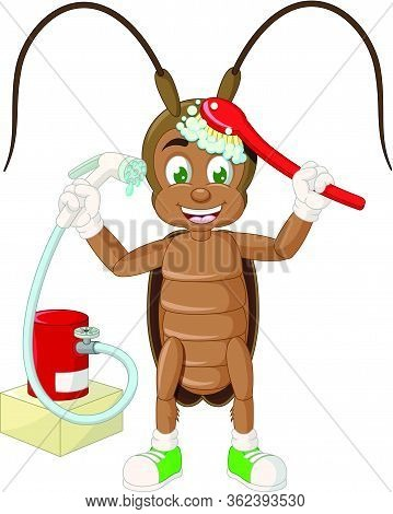 Brown Cockroach Showering Brushing Itself With Red Brush And Shower Cartoon Vector Illustration