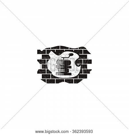 Coffee Roaster And Brick Logo Ideas. Inspiration Logo Design. Template Vector Illustration. Isolated