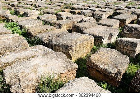 Blocks Of Ruined Greco-roman City Of Gerasa In Jerash, Jordan