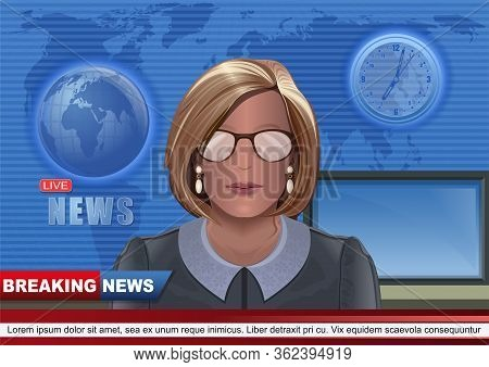 Woman Leading Tv News On The Air. Breaking News Background With Beautiful Young Tv Newscaster Woman.