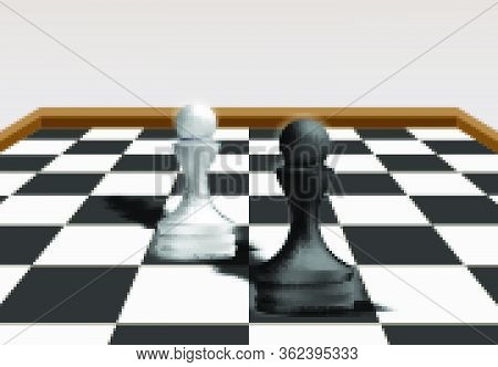 Black Pawn Chess Vs White Pawn Chess, Business Strategy Concept. Competitive Advantage In A Business