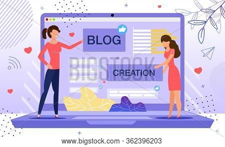 Blog Creation, Starting Personal Lifestyle Vlog, Live Video Streaming Channel Launch Concept. Women