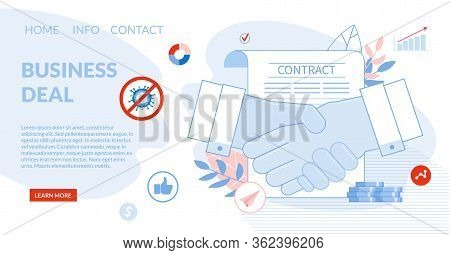 Deal Agreement And Cooperation. Businessman Shaking Hands Over Signed Contract Paper Document Design