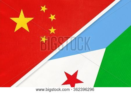 China Or Prc Vs Djibouti National Flag From Textile. Relationship Between Asian And African Countrie