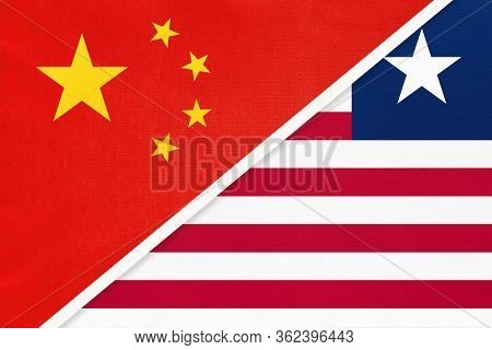 China Or Prc Vs Liberia National Flag From Textile. Relationship Between Asian And African Countries