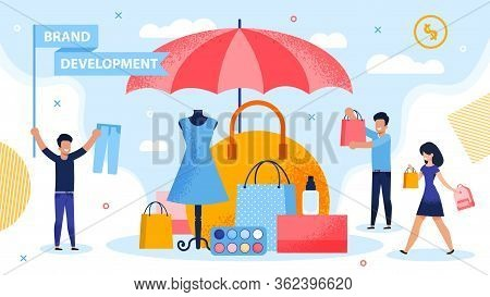 Brand Development And Piracy Protection Metaphor. People Carrying Shopping Bag And Putting Product U