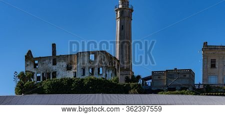 Panorama Shot Of Alcataraz Island's Lighthouse, Warden's House And Barracks Or Appartments From The
