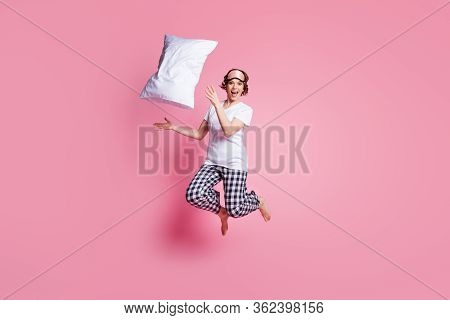 Full Size Photo Of Funny Lady Jump High Up Throw Pillow Flight Rejoicing Slumber Party Wear Sleep Ma