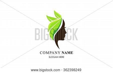 Face Leaf Woman Ecology Green Leaf Logo Vector