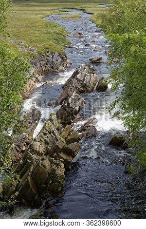 River Bà Below Bà Bridge, West Highland Way, Rannoch Moor, Highland, Scotland, Uk