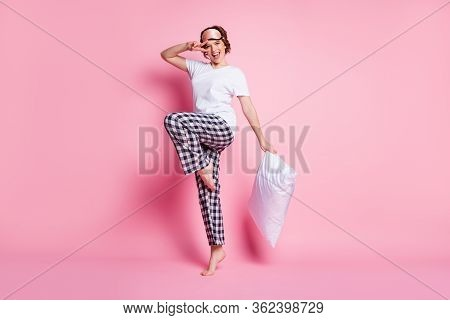 Full Size Photo Of Funny Lady Hold Pillow Good Mood Slumber Party Showing V-sign Symbol Wear Sleep M