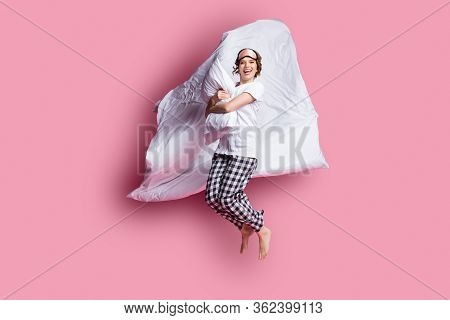 Full Size Photo Of Nice Lady Jump High Hug Pillow Blanket Flight Slumber Party Girls Night Wear Slee