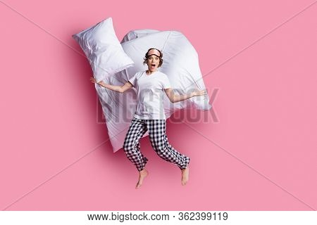 Full Size Photo Of Nice Lady Jump Throw Pillow Up Blanket Flight Slumber Party Open Mouth Wear Sleep