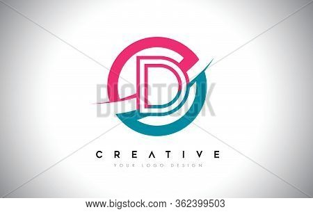 D Letter Design Logo Icon With Circle And Swoosh Design Vector And Blue Pink Color.