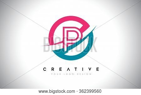 P Letter Design Logo Icon With Circle And Swoosh Design Vector And Blue Pink Color.