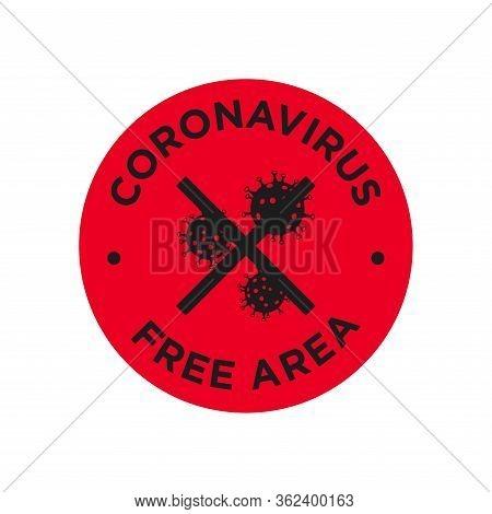 Coronavirus Free Area Icon. Round Symbol For Disinfected Areas Of Covid-19.