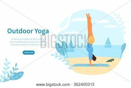 Outdoor Yoga Concept At The Seaside With A Person Doing A Handstand On A Towel On The Beach Overlook