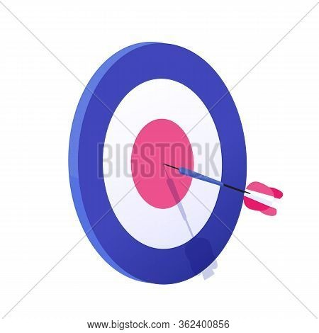 Cartoon Arrow Exactly On Target Vector Graphic Illustration. Hitting Goal, Successful Business Strat