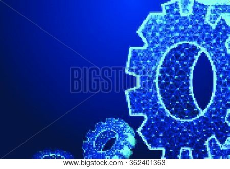 Abstract Technology Gear Background. Isometric Gear Wheels. Vector Gear, Modern Mechanism Industrial