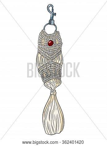 Macrame Boho Style Keychain. Textile Knotting Design Charm. Linear Modern Indigenous Macrame Symbol
