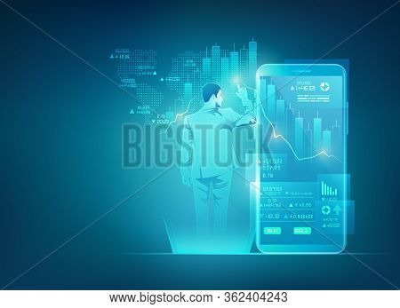 Concept Of Online Trading Technology, Businessman Using Stock Market Exchange Interface On Mobile Ph