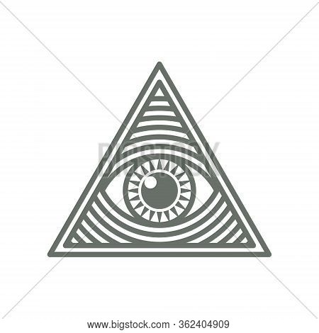 Human World Eye In Triangle Shape. Illuminati Logo, World Order Symbol All-seeing Eye Of Providence.
