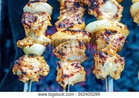 Roasted Homemade Chicken Shish Kabobs With Fresh Onions Closeup Atop Smoldering Coals In Mangal. Gri
