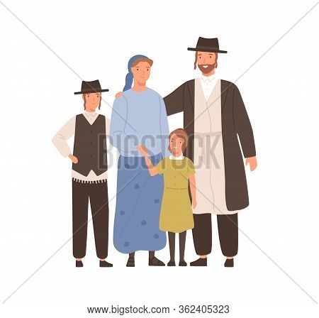 Traditional Jews Smiling Cartoon Family Vector Flat Illustration. Colorful Jewish Mother, Father, So