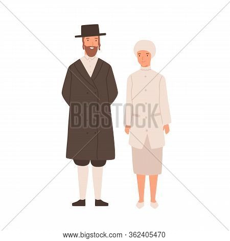 Happy Cartoon Man And Woman Jews Standing Isolated On White Background. Smiling Colorful Jewish Coup