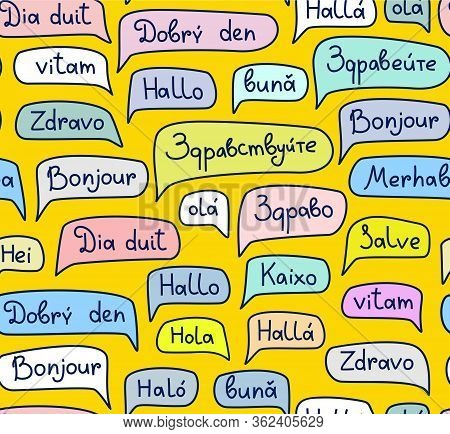 Hello, European Languages, Seamless Pattern, Contour Drawing, Color, Yellow, Vector. The Word