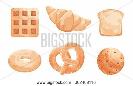 Set Of Different Types Of Baked Goods With Different Types Of Bread Sweet Buns. Vector Illustration