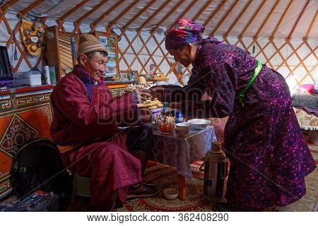 Khatgal, Mongolia, February 25, 2020 : Mongolian People Visit Their Family And Friends In Their Yurt