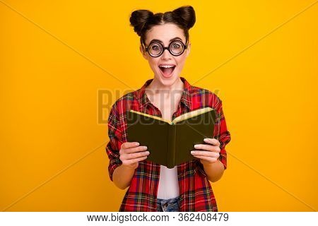 Photo Of Pretty Crazy Lady Two Buns Hold Open Book Read Interesting Story Novel Open Mouth Intrigue