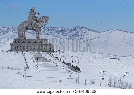 Tsonjin Boldog, Mongolia, March 9, 2020 : The Genghis Khan Equestrian Statue, A 40 Meters Tall Statu
