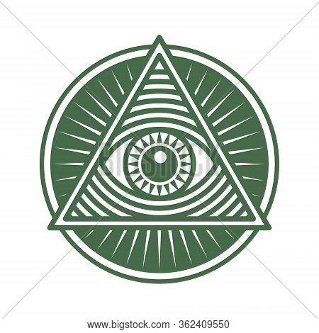 Vector Icon Human World Eye In Engraved Style. One Global Color. Illuminati Logo, World Order Symbol