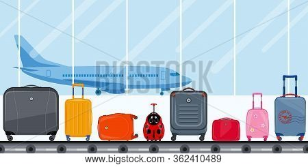 Airport Terminal. Conveyor Belt With Passenger Luggage And Airplane. Airport Baggage Belt, Luggage F