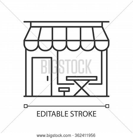 Cafe Front Pixel Perfect Linear Icon. Coffeeshop Storefront. Cafeteria Exterior. Thin Line Customiza