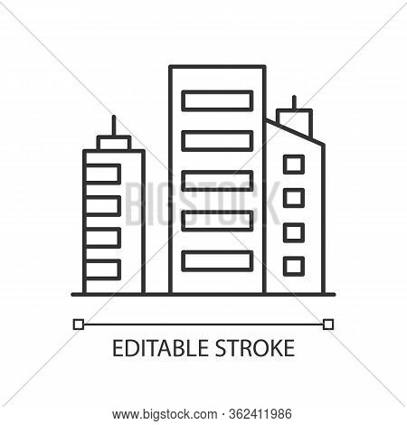 Business Building Pixel Perfect Linear Icon. Multistorey Apartment Houses. Corporate Offices. Thin L