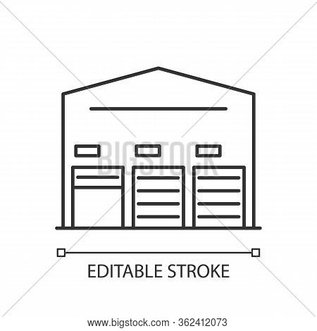 Self Storage Unit Pixel Perfect Linear Icon. Industrial Building Entrance. Storing Facility. Thin Li