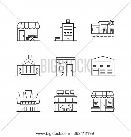 Urban Building Exteriors Pixel Perfect Linear Icons Set. Cafe Exterior. Hospital Entrance. Customiza