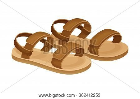 Men Summer Brown Leathery Sandals For Bare Foot Wearing Vector Illustration