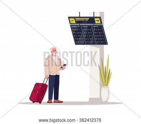 Waiting Airline Lounge Semi Flat Rgb Color Vector Illustration. Senior Man Wait For Flight. Tourist