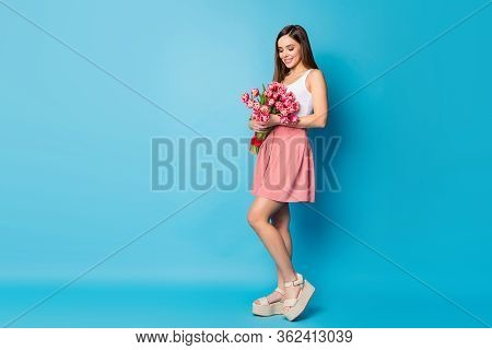 Full Length Photo Of Cheerful Pretty Girlish Lady Hold Big Tulips Bouquet Look Enjoy Her 8-march 14-